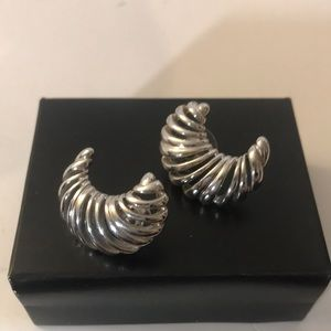 Monet silver crescent earrings